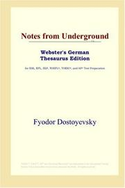 Cover of: Notes from Underground (Webster