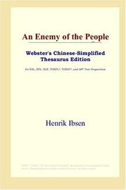 Cover of: An Enemy of the People (Webster's Chinese-Simplified Thesaurus Edition) | Henrik Ibsen