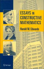 Cover of: Essays in Constructive Mathematics