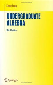 Cover of: Undergraduate algebra
