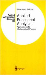 Cover of: Applied Functional Analysis | Eberhard Zeidler