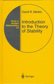 Cover of: Introduction to the theory of stability