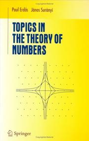 Cover of: Topics in the theory of numbers | Paul Erdős
