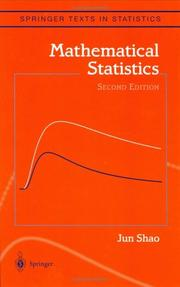 Cover of: Mathematical statistics