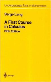 Cover of: A first course in calculus