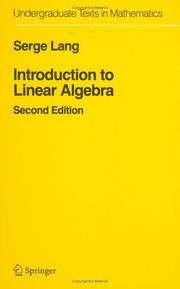 Cover of: Introduction to Linear Algebra (Undergraduate Texts in Mathematics) 2nd edition | Serge Lang