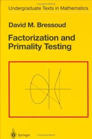 Cover of: Factorization and primality testing by David M. Bressoud