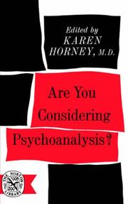 Cover of: Are you considering psychoanalysis?