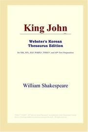 Cover of: King John (Webster's Korean Thesaurus Edition) by William Shakespeare