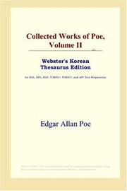 Cover of: Collected Works of Poe, Volume II (Webster