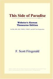 Cover of: This Side of Paradise (Webster