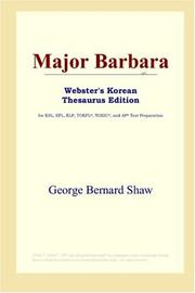 Cover of: Major Barbara (Webster's Korean Thesaurus Edition) | George Bernard Shaw
