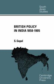 Cover of: British Policy in India 1858-1905 (Cambridge South Asian Studies)
