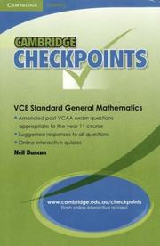 Cover of: Cambridge Checkpoints VCE Standard General Maths Units 1&2