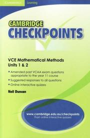 Cover of: Cambridge Checkpoints VCE Mathematical Methods Units 1&2