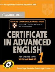 Cover of: Cambridge Certificate in Advanced English 1 for updated exam Student's Book with answers