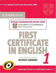 Cover of: Cambridge First Certificate in English 1 for Updated Exam Student's Book without answers