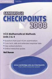 Cover of: Cambridge Checkpoints VCE Mathematical Methods Units 3&4 2008