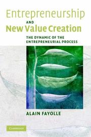 Cover of: Entrepreneurship and New Value Creation | Alain Fayolle
