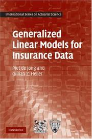 Cover of: Generalized Linear Models for Insurance Data (International Series on Actuarial Science) | Piet de Jong