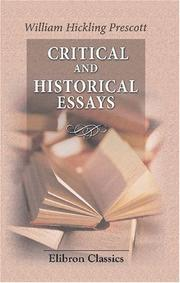 Cover of: Critical and historical essays ..