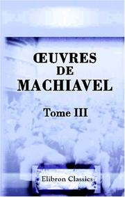 Cover of: uvres de Machiavel