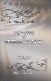 Cover of: Narrative and Miscellaneous Papers