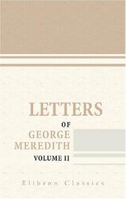Cover of: Letters of George Meredith
