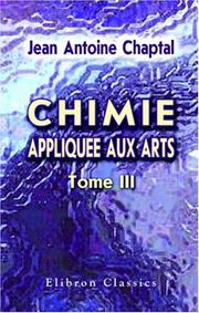 Cover of: Chimie appliquée aux arts