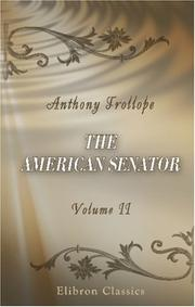 Cover of: The American Senator | Anthony Trollope
