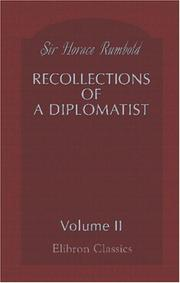 Cover of: Recollections of a Diplomatist | Sir Horace Rumbold