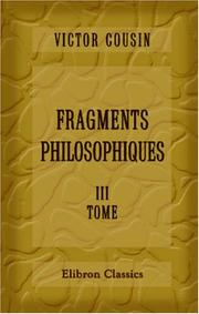 Cover of: Fragments philosophiques