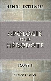 Cover of: Apologie pour Hérodote