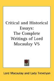 Cover of: Critical and Historical Essays