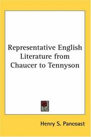 Cover of: Representative English Literature from Chaucer to Tennyson