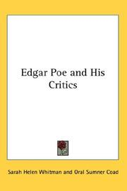 Cover of: Edgar Poe and his critics