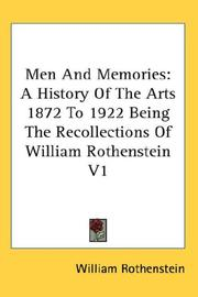 Cover of: Men And Memories | William Rothenstein