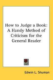 Cover of: How to Judge a Book | Edwin L. Shuman