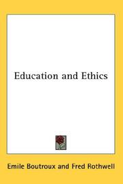 Cover of: Education And Ethics