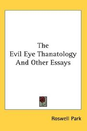 Cover of: The Evil Eye Thanatology And Other Essays