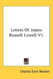 Cover of: Letters Of James Russell Lowell V1