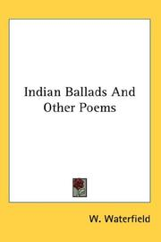 Cover of: Indian Ballads And Other Poems