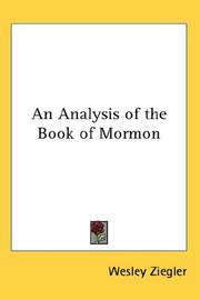 Cover of: An Analysis of the Book of Mormon