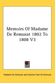 Cover of: Memoirs Of Madame De Remusat 1802 To 1808 V3 | Madame De Remusat