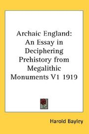 Cover of: Archaic England | Harold Bayley