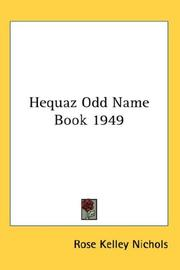 Cover of: Hequaz Odd Name Book 1949