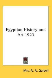 Cover of: Egyptian History and Art 1923