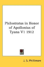 Cover of: Philostratus in Honor of Apollonius of Tyana V1 1912