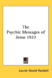 Cover of: The Psychic Messages of Jesus 1923
