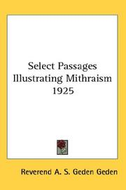 Cover of: Select Passages Illustrating Mithraism 1925